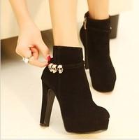 Free shipping,2014 Martin boots/ Women fashion skull high heels platform short ankle boots shoes,black,blue