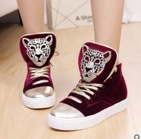 2013New SKULL leopard sneakers 2013 women's fashion hot sale skateboarding shoes casual soprt bootss Sneakers  202