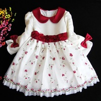 new 2014 girls dress children embroidery flower party dress  2 color for the girl 3-8 years free shipping christmas dress