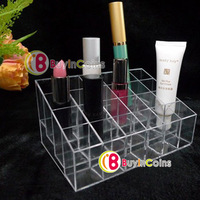 24 Trapezoid Clear Lipstick Makeup Display Stand Cosmetic Organizer Holder Case[28320|01|01]