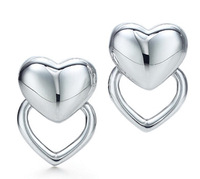 E127 Wholesale 925 silver earrings, 925 silver fashion jewelry, Solid and Hollow Heart Earrings