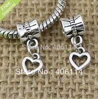240Pcs Tibetan Silver Open Smooth Heart Beads Dangles Fit European Charms Bracelet