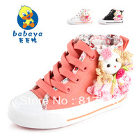 Free shipping,children shoes child canvas shoes,high lacing princess child spring single shoes,children canvas,canvas for girl