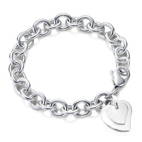 H279 Free Shipping 925 Silver Bracelet Fashion Jewelry Bracelet The double heart cards shrimp buckle bracelet ajua jbba
