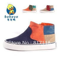 Bab duck foot wrapping children shoes color block decoration water wash denim high child canvas shoes male children child