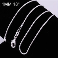 C008-18 10pcs/lot Promotion! wholesale 925 silver necklace, 925 silver fashion jewelry Snake Chain 1mm 18 inches Necklace eytb