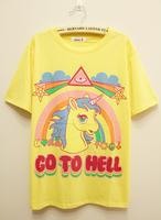 Multicolour cartoon letter unicorn loose short-sleeve T-shirt