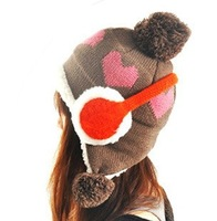 HOT Wholesale Free shipping fashion  Women Korean winter warm wool cap Charity balls sherpa hat knitted hat ear