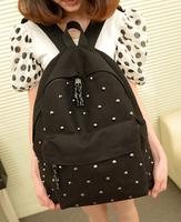 new 2013 Bags  women's handbag fashion rivet canvas  vintage nails student school bag women messenger bag
