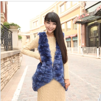 Fur vest faux irregular medium-long faux vest