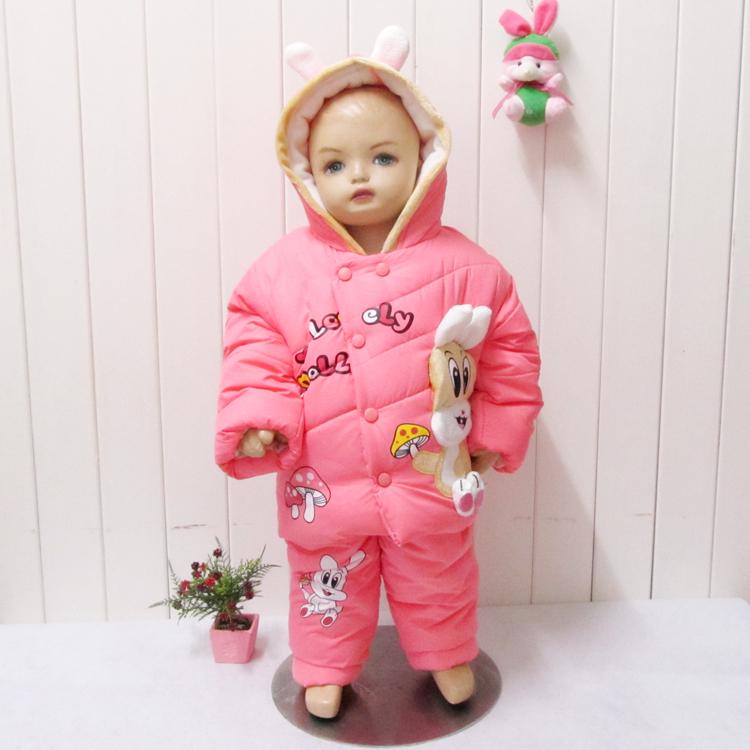 2013 crianças coreanas 0-3 anos bebê meninas grosso casaco de inverno dos desenhos animados paletó bebês terno acolchoado e crianças(China (Mainland))