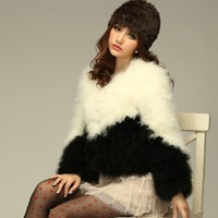 2013 Autumn black pink patchwork wool ostrich turkey wool short design plus cotton cotton-padded short design fur coat female