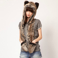 Wonderful Rabbit Fur Hat Women's Winter Earflap Hats+Scarf+Gloves Hippie Cap Cheap Sale,Free Shipping