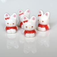 Rabbit ceramic beads for DIY  mobile phone chain,10pcs/lot
