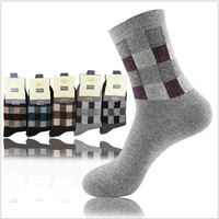 Free shipping autumn winter new 2013  men's warm fleece socks, men in tube sock thickening plaid 5 colors, 1lot = 10pairs LH355