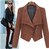 2014 Fashion Women's Slim Oblique Zipper Suede Short Jacket Woman Basic Biker Jacket  SOB069 Motorcycle Short Design Jacket