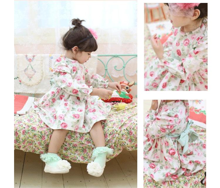 High Quality Korean Brand Children Fall Long Sleeve Dress Japanese Girls Floral Dress Baby Kids Clothing For Autumn QS496(China (Mainland))