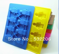 Free shipping! Ice Mold Silicone Ice Cube Tray Robot, 100pcs/lot