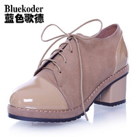 2013 spring and autumn fashion martin boots genuine leather boots lacing single boots thick heel high-heeled single shoes boots