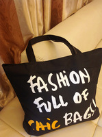 Free shipping Fashionable casual preppy style letter color block one shoulder portable travel eco-friendly canvas bag