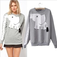 New Arrival 2013 Fall Fashion Sportswear Women Print Elephant  Animal Hoodies Female Long-sleeve T-shirt Sweatshirt