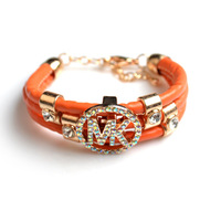 New arrival leather letter nk multi-layer wrap bracelet hand ring bracelet