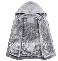 2013 Free shipping new fashion autumn and winter plus velvet Hoodies men's sport sweatshirts coats bigger size Zipper outwear
