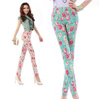 2014 summer women's print pencil pants slim skinny pants plus size flowers long pants s-xxl free shipping