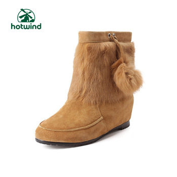 Hotwind winter suede cowhide women's shoes flower boots elevator boots 75h2008