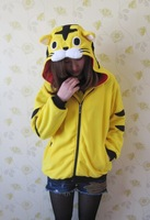 2013 Hot Selling Tiger Sweatshirt Cartoon Yellow  Cardigans Hoody Lovers Cute Animal Hoodies Clothing Women