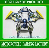 yellow flames in blue fairing kit for 2000- 2002 Kawasaki Ninja ZX-6R 636 ZX6R 00 -02 RX2b 2a