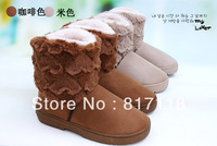 Free shipping,women Winter thickening thermal boots knee-high snow boots female thermal cotton-padded shoes boots