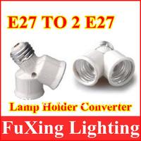 2013 innovative items Free shipping LED E27 TO 2E27 extend Base Light Bulb Lamp Adapter 10pcs/lot,E27 to 2E27 lamp socket