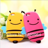 New 3D Bee Cute Silicone Cover Case for iPhone 5/5s with Free Shipping
