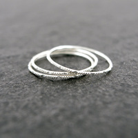 SET of 3 Sterling Silver Stacking Knuckle Band Rings