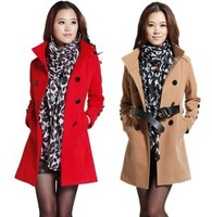 Free Shipping Women's Outwear Medium-long Wool Coat female Thickening Autumn Winter Slim Overcoat Plus Size NTZH239