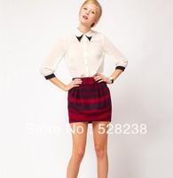 2013 hot seller half sleeve white solid  chiffon blouse
