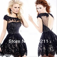 Hot Sale 2014 Modest Sequin Lace Cap Sleeves Open Back Pink Black Short Mini Prom Party Corset Homecoming Dresses Free Shipping