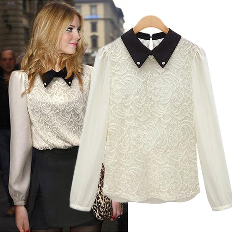 2013 autumn women peter pan collar lace chiffon shirt plus size XXXL shirt long-sleeve casual shirt top(China (Mainland))
