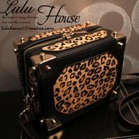 2014 women's genuine leather leopard design box bag  horsehair messenger bag shoulder bag free shipping
