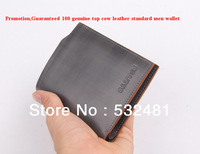 Promotion,Guaranteed 100% Genuine top cow leather Standard men wallets Hot sale and free shipping men wallets