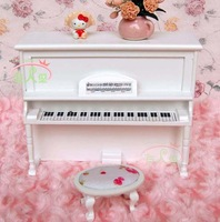 iland 1/12 Dollhouse Miniature Music Studio Instrument Wood Upright Piano Stool White