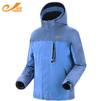 Free shipping Mens Mountain Jacket Climbing Waterproof Windproof 3 in 1 Hood Removable Grey
