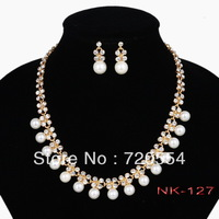 WholesaleImitation Pearl Jewelry Set Gold Plated Clear Crystal Top Elegant New Arrival Party Gift Free Shipping