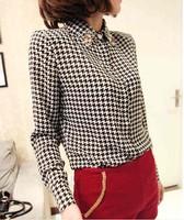 EAST KNITTING AA-133 new spring 2014 women blouse chiffon plaid long sleeve shirt  fashion clothes Chiffon casual Tops