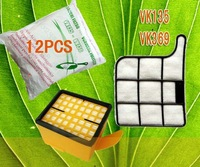 Cleaner accessories,12 Piece Dust bag Replacement for VK135  VK369 + Microfilter Box 1 Piece HEPA  Filter 1 Piece