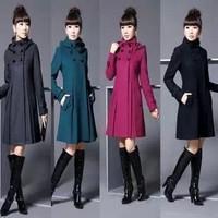 2013 autumn and winter overcoat double breasted woolen outerwear female medium-long woolen overcoat wool long pea coats women