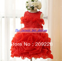 New Arrival Flower Double Layers Fluffy Baby Girls girls vintage dress children feather dress girls