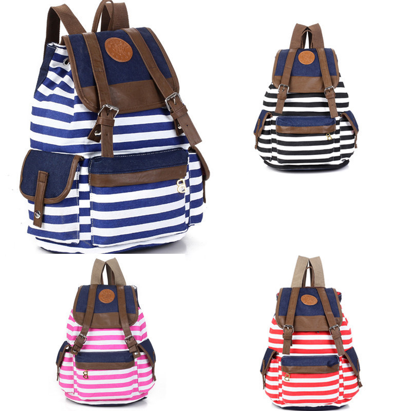 Fashion Women Unisex Backpack Canvas Stripe Leisure Bags School Bag(China (Mainland))