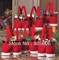 20pcs/lot Santa pants style Christmas Decoration Christmas Wedding Candy Bags Lovely Gifts For Children 17X16CM Free Shipping